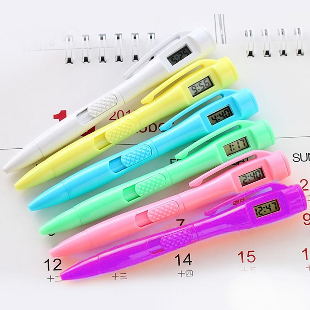 Цифровые часы, ручка, легкий дизайн с зажимом, пластиковые электронные цифровые часы, ручка для письма, электронные цифровые часы, ручка