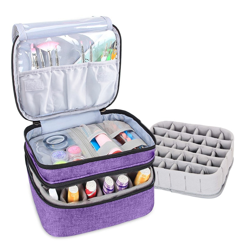 Cosmetic Essential Oil Bag Double-Layer Portable Nail Polish Bag Organizer Case Storage Box Makeup Organizer Pouch Carrying Case