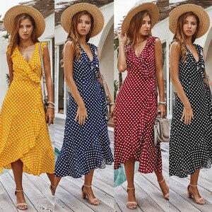 dress womenSleeveless Polka Dot Print Dress Boho Maxi Dress A Line Summer Ruffle Split Party Sexy Beach Long Dress Vestido
