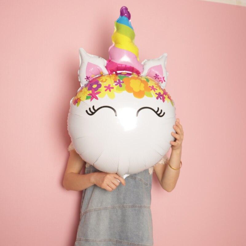 1 adet Büyük Gülümseme gökkuşağı ünikorn Kafa Balonlar Unicorn Tema Parti Çiçek Helyum Topları Bebek Kız Doğum Günü Malzemeleri Düğün Dekor