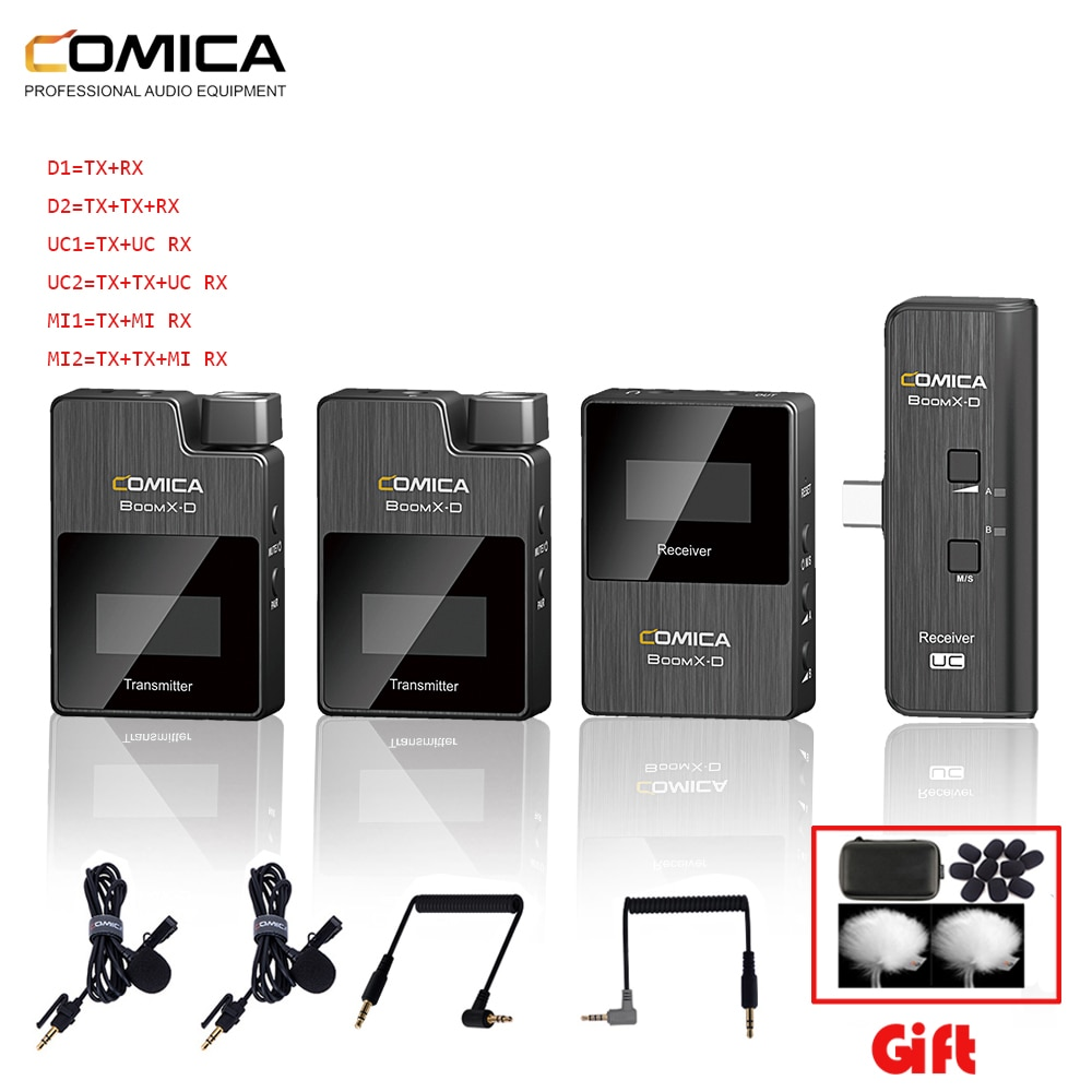 Comica BoomX-D D2 ميكروفون لاسلكي ، مجموعة إرسال ، مستقبل صغير للهاتف الخلوي ، مع مكثف رقمي ، ستيريو ، ميكروفون مقابل الميكروفون ، 2.4 جرام
