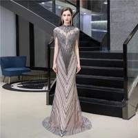 luxurious middle east dubai mermaid prom dresses banquet bling bling crystal beaded ladies evening party gowns muslim fashion