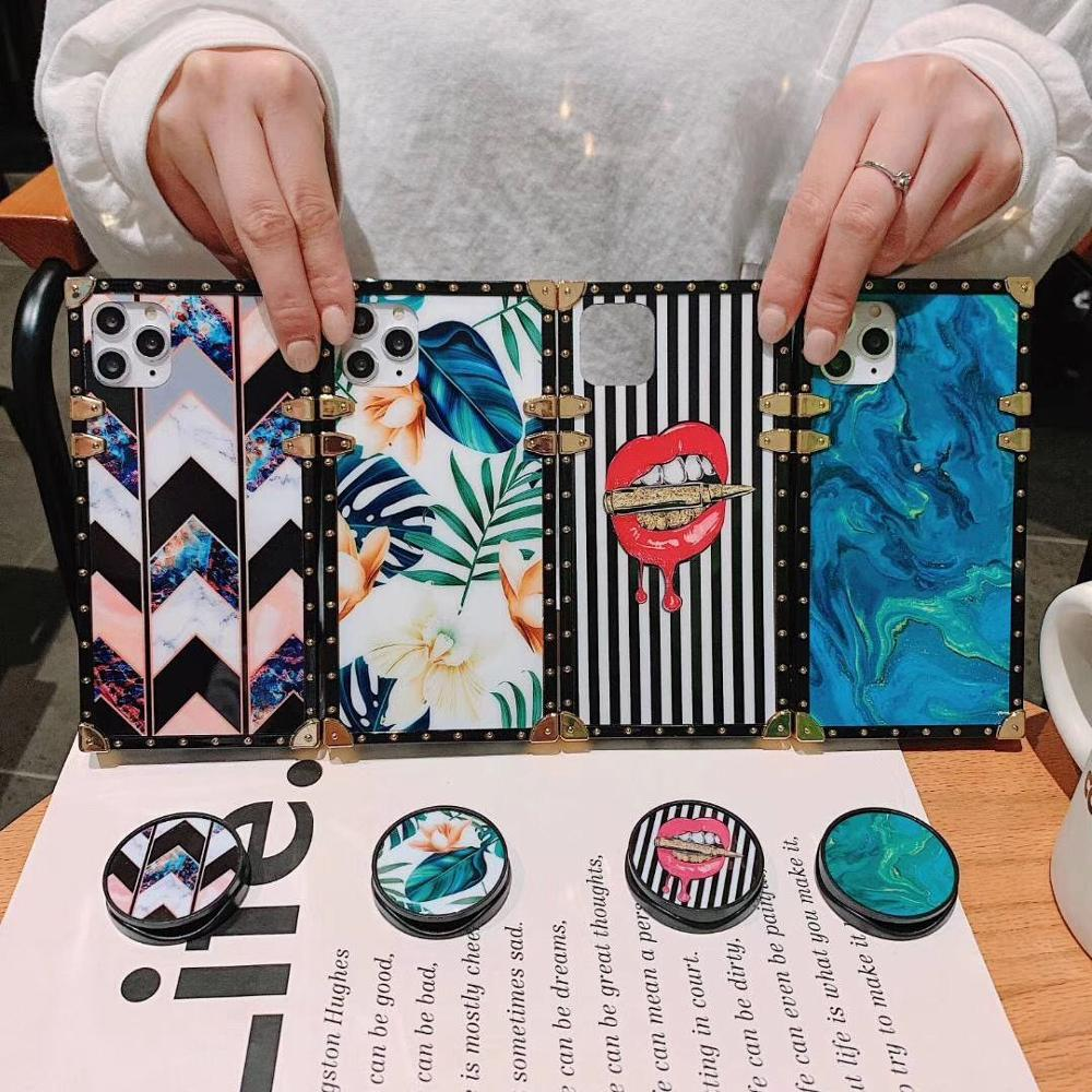 Cuadrado de labios geométricos de Europa para Samsung s8 s9 s10 plus funda de teléfono resistente a los golpes Nota 8 9 10 suave cáscara marea regalo femenino