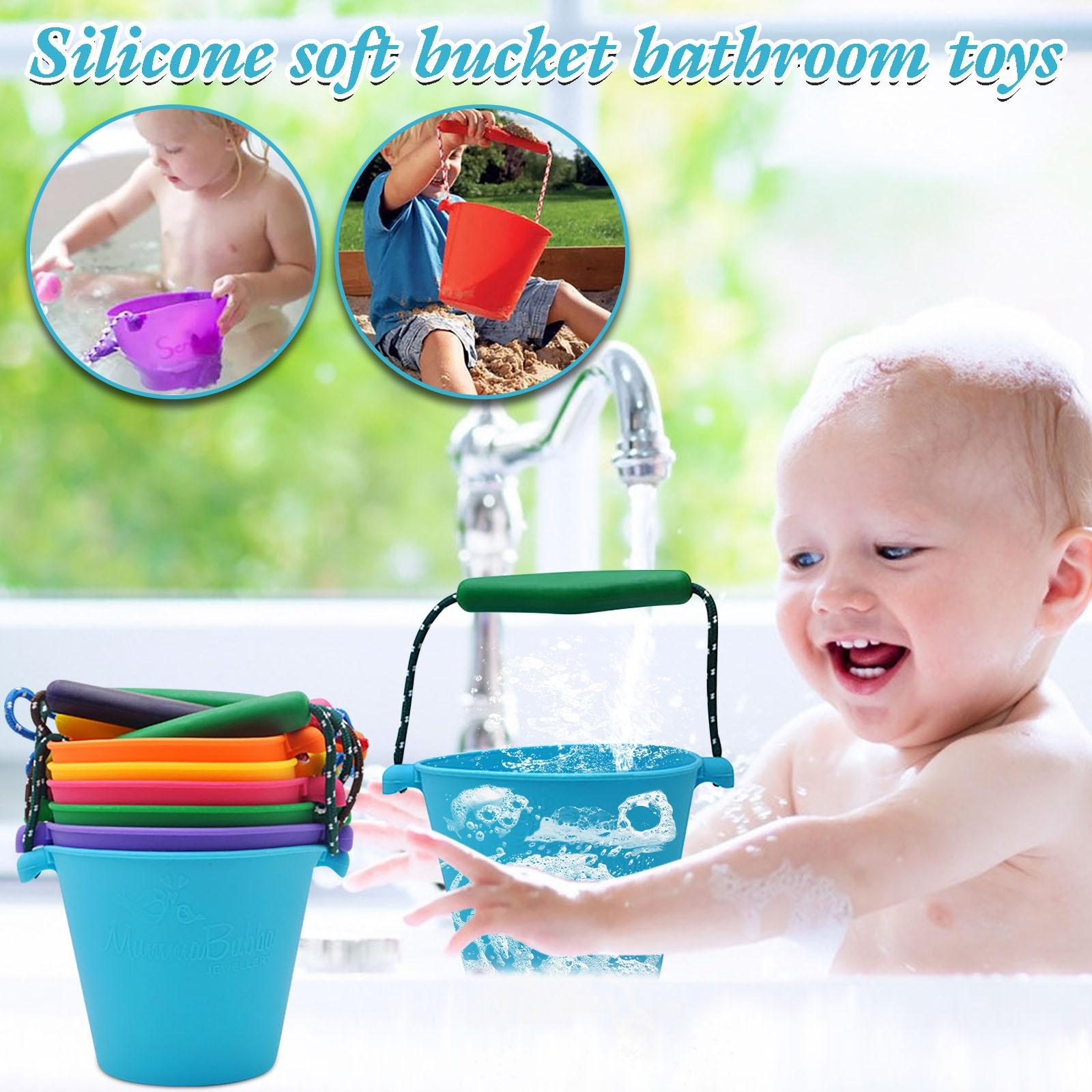 Juguetes de playa para bebé, cubo de agua suave de silicona, plegable,...