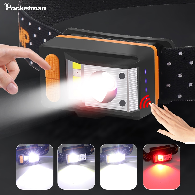 30000LM XPE+5*LED Headlmap Motion Sensor Headlight 9 Modes Head Lamp With Built in Battery Red Warning Light Camping Fishing Led