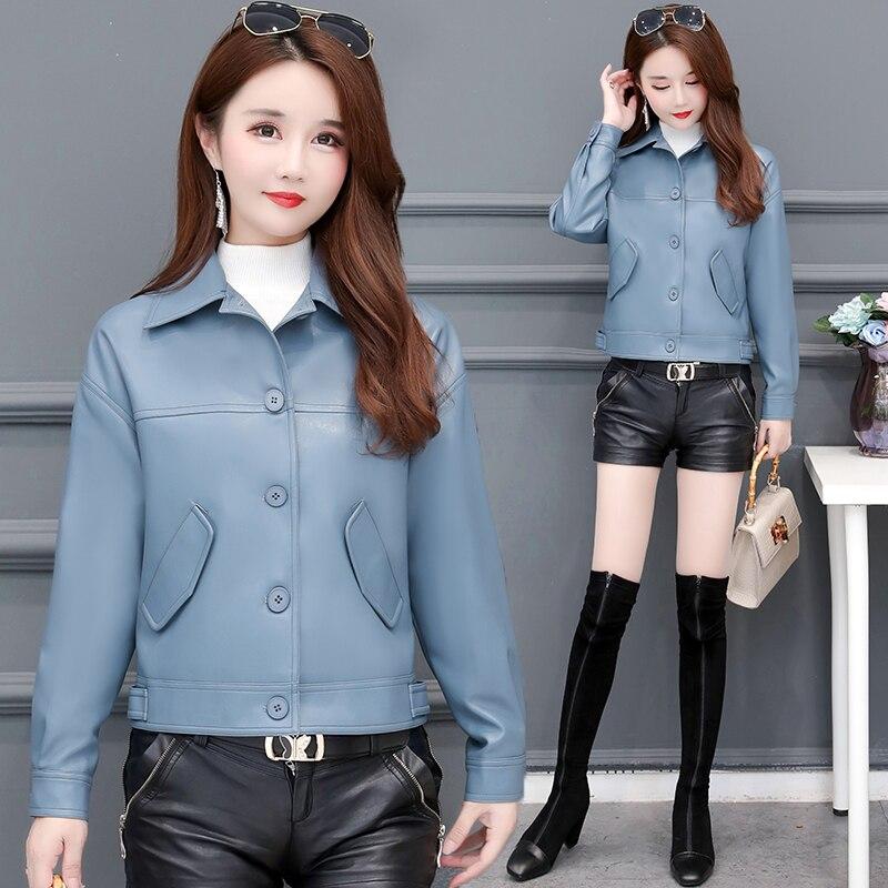 Spring new artificial soft leather jacket short section Korean fashion zipper coat locomotive PU ladies street autumn