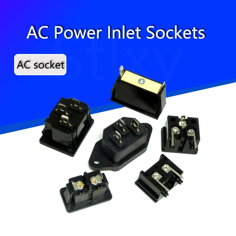 2PCS IEC320 C8 Schwarz 2 Terminal Power Stecker Einlass Buchse AC 250V 2,5 A AC Steckdose Stecker stecker Kupfer Kern UNS EU Stecker