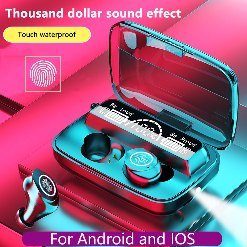 TWS  Wireless Headphones Bluetooth Earphones Led Sports Hifi Earbuds 9D Stereo Noise Canceling Heads