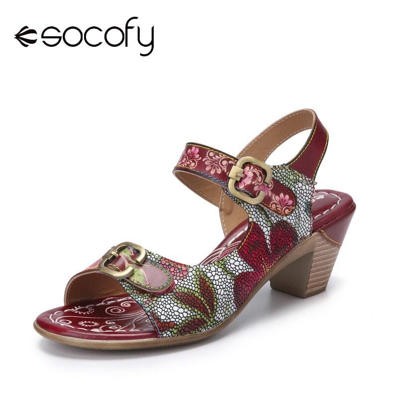 Socofy Retro Calico Print Genuine Leather Splicing Metal Buckle Hook Loop Chunky Heel Sandals Women