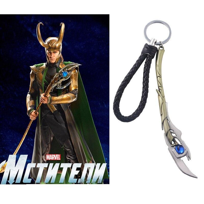 Joyería Marvel los Vengadores 4 Loki cetro llavero Iron Man Thor martillo Mjolnir Stormbreaker hacha llavero funda de llave de coche baratijas