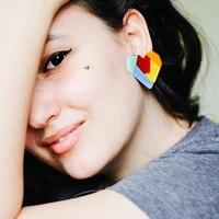 2021 new rainbow colorful heart earrings acrylic love heart dangle drop earrings for women party jewelry gift brincos