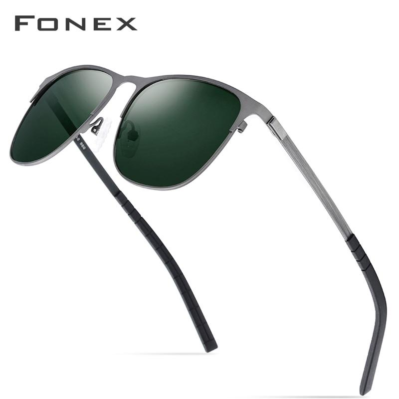 Fonex polarizado óculos de sol dos homens da marca de moda designer quadrado liga screwless óculos de sol para mulher uv400 lente verde escuro 986