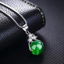 Collar con colgante de Esmeralda Natural redondo S925, collar de plata esterlina para Mujer, joyería de piedras para Mujer Naszyjnik