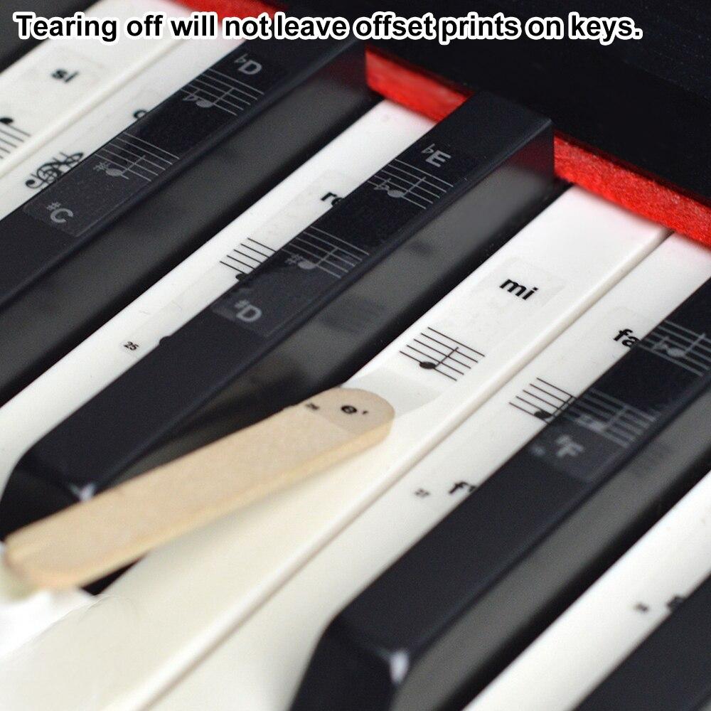 54/61/88 pegatinas para Piano, Piano, teclado transparente, pegatina de PVC, Piano Stave, teclado electrónico, calcomanía de nombre, accesorios de nota