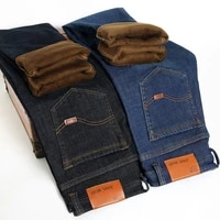 mens denim trousers 2020 winter youth stretch and velvet jeans warm thick small straight slim business warm large size