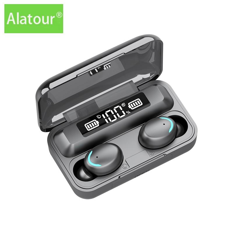 Alatour F9-5c Wireless Headphones 2500mAh power bank Bluetooth 5.0 Earphones Sport LED digital displ
