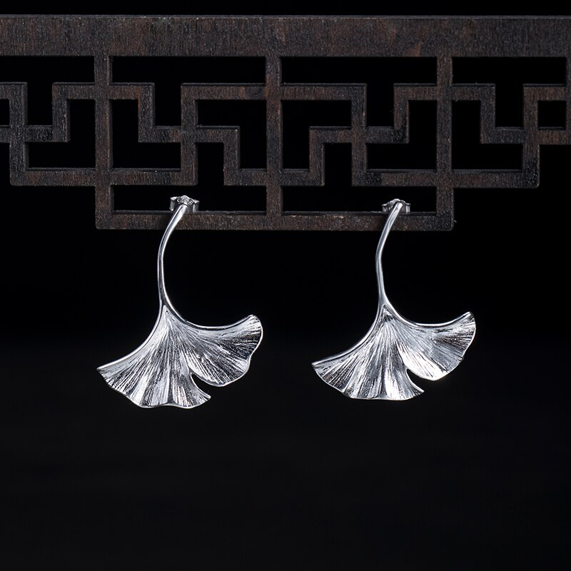 VLA 925 Sterling Silver Personalized Fashion Gingko Leaf Earrings Women's Temperament Elegant Handmade Silver Accessories
