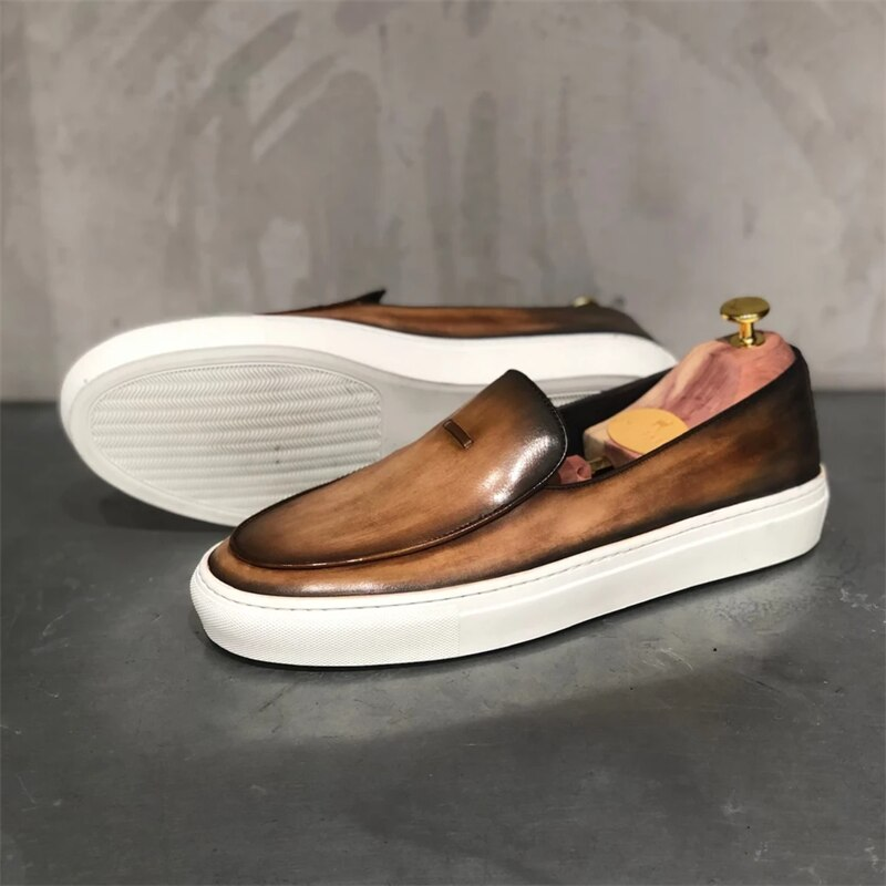 Men's Shoes Spring 2021 New Loafers Retro Ugly Big-toed Shoes Low-top One Pedal All-match Casual  Me