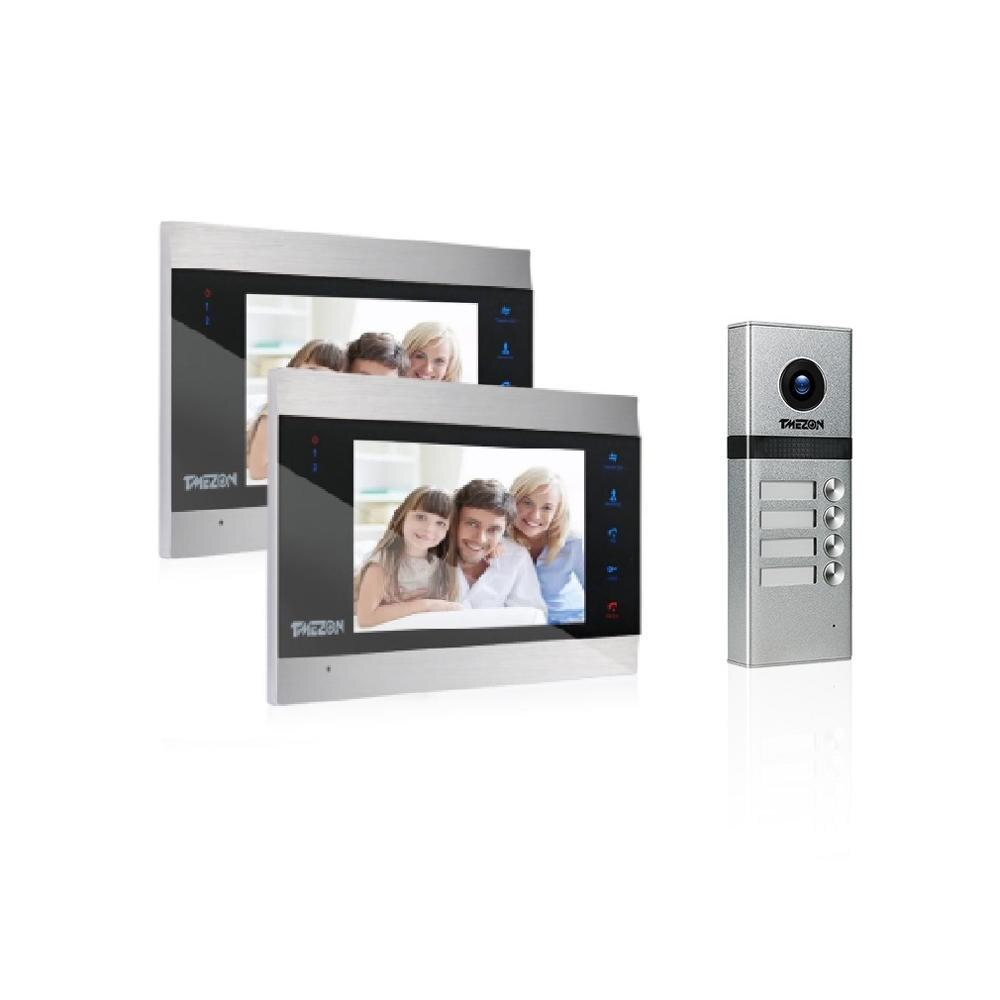 TMEZON Video Intercom Doorbell System With Four Button ,Support Snapshot & Video Record,Design For Two Family