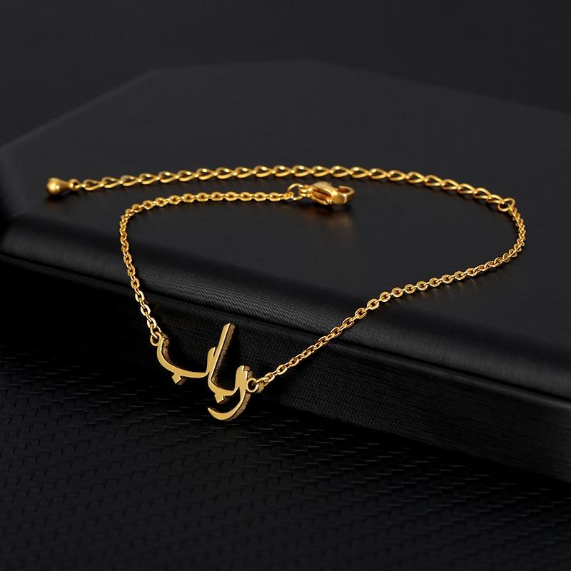 Персонализированные арабский пользовательское имя ожерелье исламские ювелирные изделия золотые ювелирные изделия из нержавеющей стали ж...