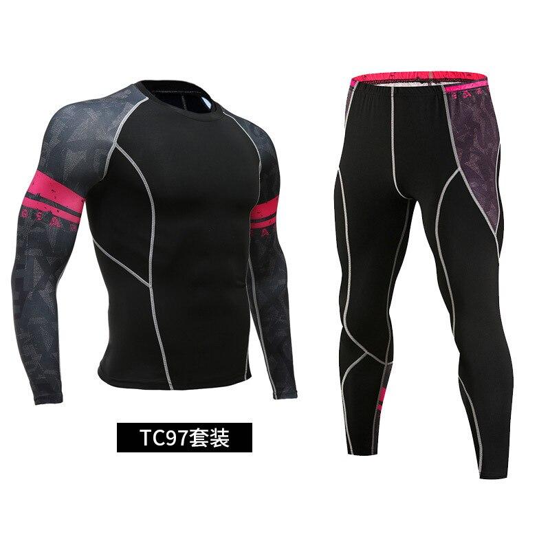 2-piece track suit men's running sportswear 2021 compression sportswear rash guard male bodybuilding T-shirt pants men's trainin