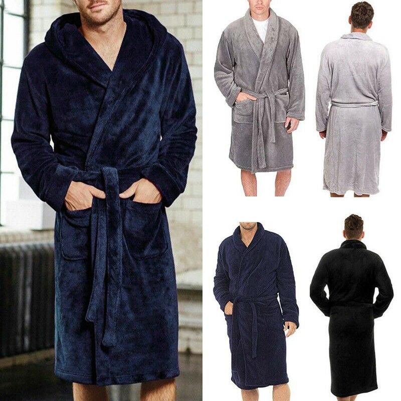 Batas cálidas de invierno para hombre HIRIGIN grueso alargado de felpa chal Albornoz Kimono ropa de casa de manga larga bata peignoir homme