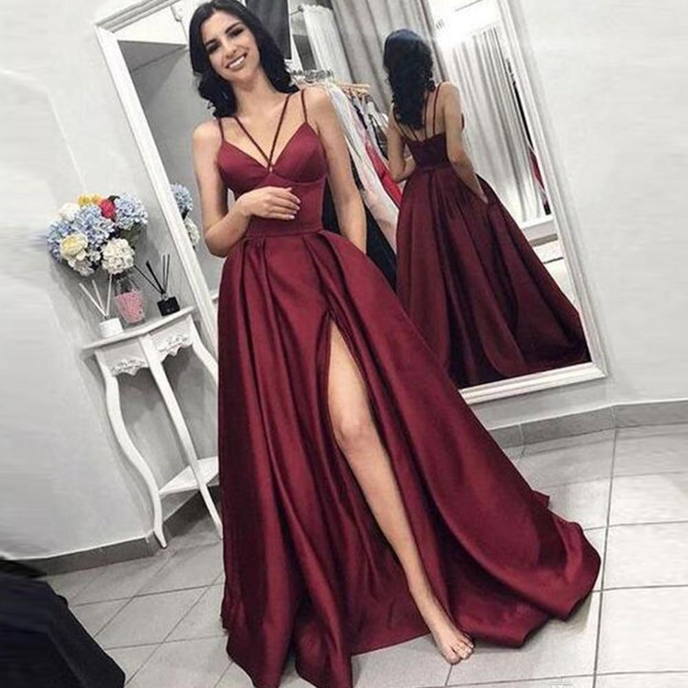 sexy Prom party evening dresses vestido de noiva sereia si slit robe  soiree  novia playa formal str