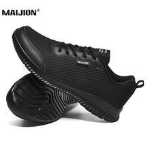 خفيفة الوزن الرجال في الهواء الطلق أحذية رياضية سوداء عدم الانزلاق مقاومة للاهتراء أحذية رياضية مريحة الركض أحذية رياضية شبكة احذية الجري