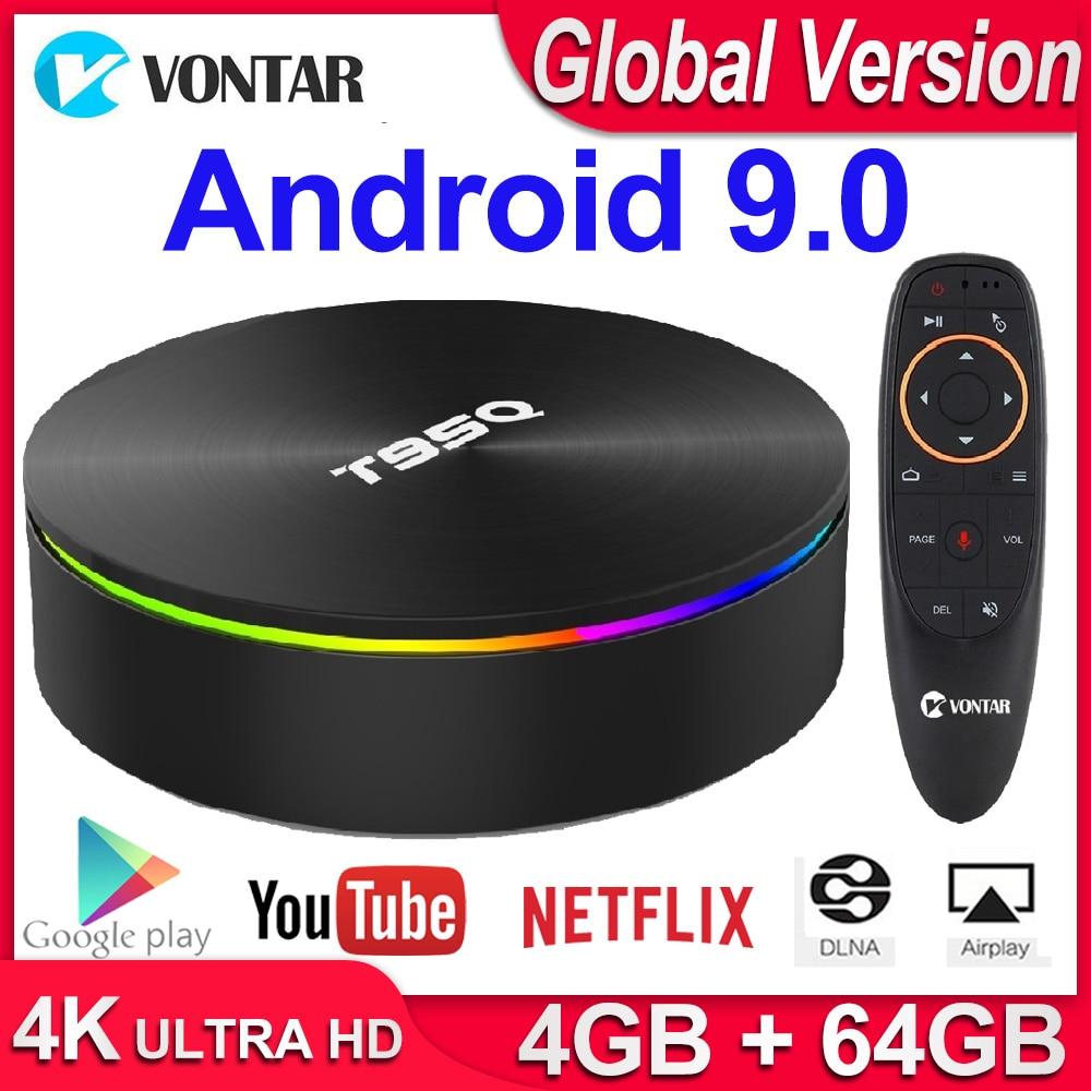 T95Q 4GB 64GB Android 9,0 TV BOX 4K reproductor de medios DDR3 Amlogic S905X2 Quad Core 2,4G y 5GHz Dual Wifi BT4.1 100M H.265 Dispositivo de TV inteligente
