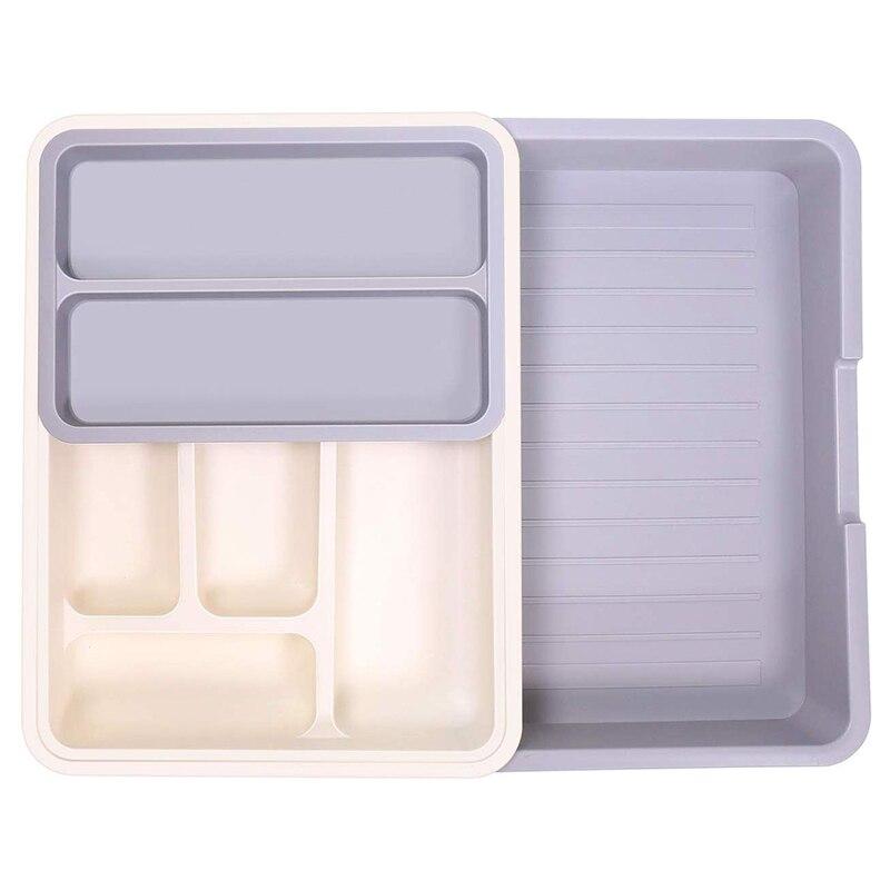 درج مطبخ قابل للتوسيع منظم ، قابل للتعديل أواني صغيرة الفضيات منظم أدوات مائدة بلاستيكية فواصل درج منظم 7 Comp