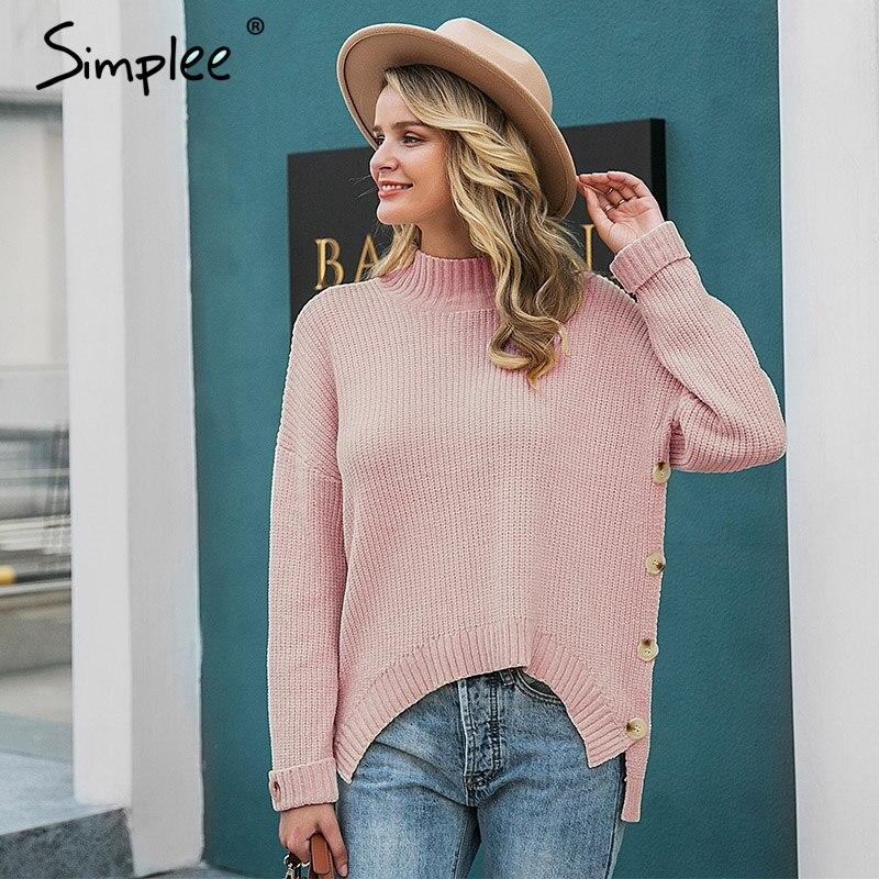 Simplee Jersey de punto de cuello alto para mujer, jersey de manga larga liso de talla grande, jersey con botones para mujer