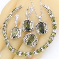 green peridot 925 silver wedding jewelry sets for women bracelet earrings necklace pendant ring birthday gift