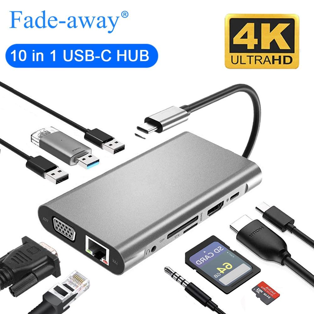 USB Type C vers HDMI 4K VGA adaptateur RJ45 Lan Ethernet SD TF USB-C Type C Hub USB 3.0 3.5mm Jack Audio vidéo convertisseur pour MacBook