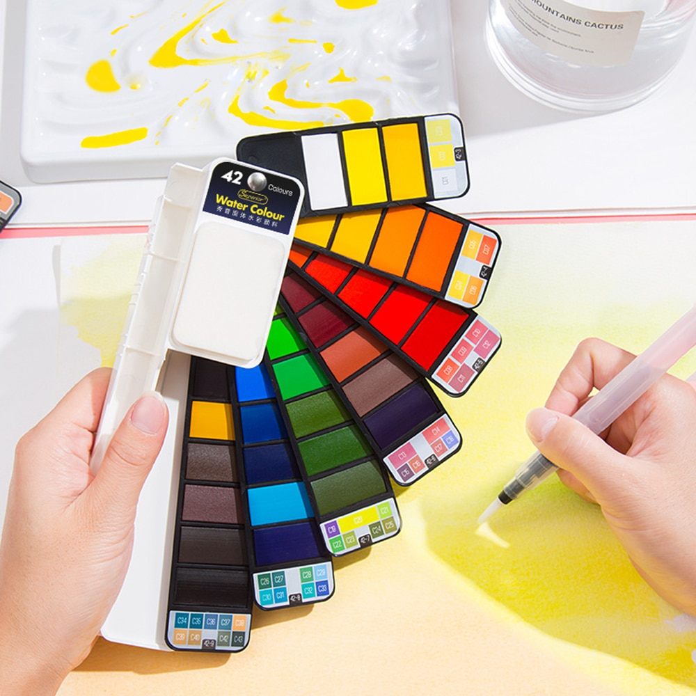 18/25/33/42 Colors Box Solid Watercolor Pigment Paint Portable Professional Painting Collapsible Graffiti Solid Watercolor Set
