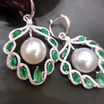 D207 Pure 925 Sterling Silver 8-9mm Fine Jewelry Fresh Water White Pearls Dangle Earrings for Women Fine Pearl Earrings