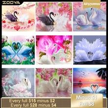 ZOOYA diamant broderie animaux Kits 5D bricolage diamant peinture autocollants deux cygnes amour fleurs diamant mosaïque de cygnes RF1229
