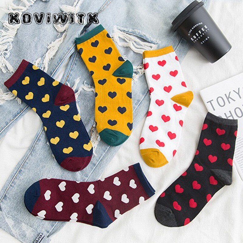 Invierno otoño calcetines calientes amor algodón tejer harajuku anke moda femenina e girl chaussette femme beagle kerstsokken