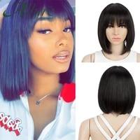 short bob wig human hair for black women blunt cut bob wig with bangs natural straight 613 blonde brazilian hair wigs allure