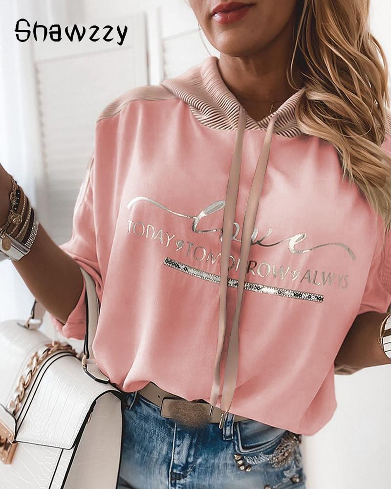 Women Fashion Long Sleeve Casual Tops Female Autumn Clothes Letter Print Top Hoodies Printing Sweatshirt