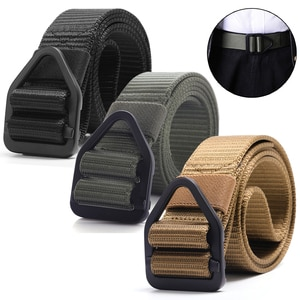 125CM Man Belt Tactical Sport Belt with Triangle Buckle Army Military Waistband Adjustable Waist Protector for Outdoor Sports