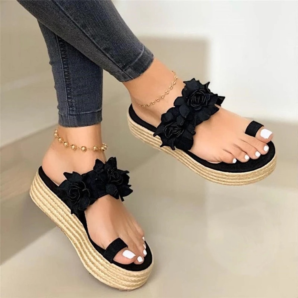 2020 heiße Verkäufe Frau Sandalen Plattform Blume Pantoffel Casual Strand Flip-Flops Sandalen Frauen Sommer Sexy High Heel Sandale