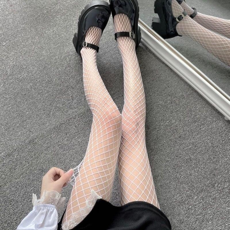 Sexy mujeres de cintura alta de rojo de club panty medias de pantimedias de red de malla Anime disfraces de Lolita para juego de