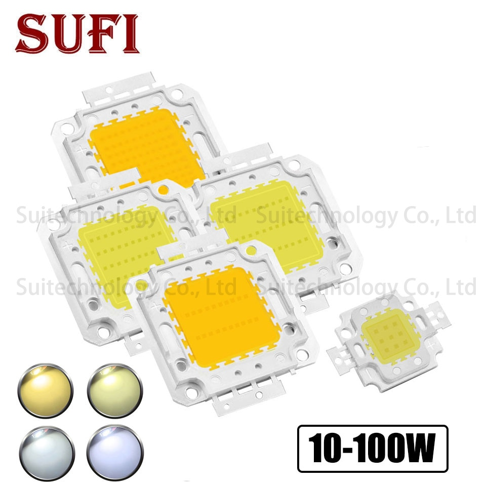 Светодиодный COB Чип 10 Вт 20 Вт 30 Вт 50 Вт 100 Вт теплый белый чистый белый свет для DIY 10 Вт 20 Вт 30 Вт 50 Вт 100 Вт высокомощный светодиодный прожектор