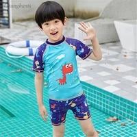 2020 new model boy swimsuits two pieces swimwear short sleeve swim bathing suits child surfing wear sunny sandy pool