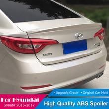 For Hyundai Sonata Black Spoiler 2015 2016 2017 ABS Plastic Tail Trunk Lip Boot Wing Primer Color Rear Roof Spoiler Car Styling