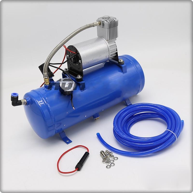 AS172 شاحنة القرن تعديل مضخة هواء 12 فولت 150psi الأزرق 6L خزان الهواء ضاغط الهواء شاحنة سيارة كبيرة تعديل مضخة هواء