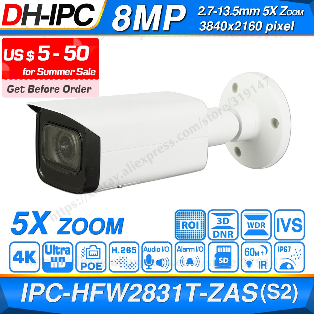 Dahua המקורי IPC-HFW2831T-ZAS-S2 8MP 4K 5X זום POE SD כרטיס חריץ אודיו מעורר I /O H.265 + 60M IR IVS IP67 אור כוכבים IP מצלמה