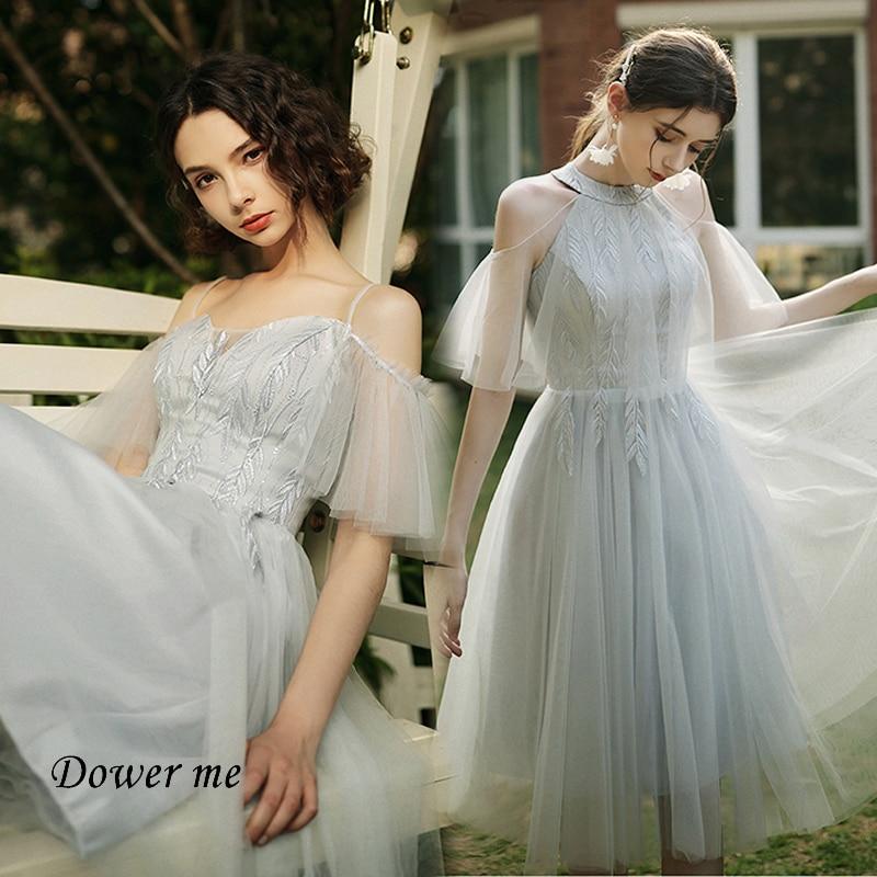Cinza vestido de dama de honra gr531 barco pescoço manga curta vestidos de gala bordado vestidos formais estilingue ruched dama de honra vestidos
