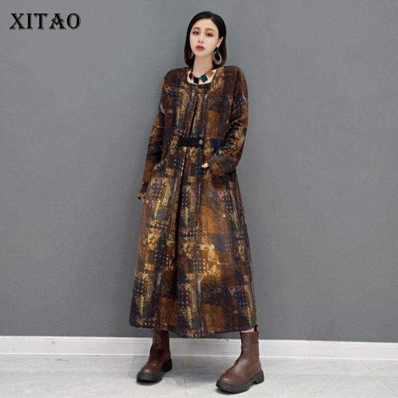 XITAO طباعة واحدة زر خندق المرأة 2021 الخريف جديد وصول شخصية موضة فضفاضة الخامس الرقبة كم كامل معطف واقٍ من المطر GWJ0915