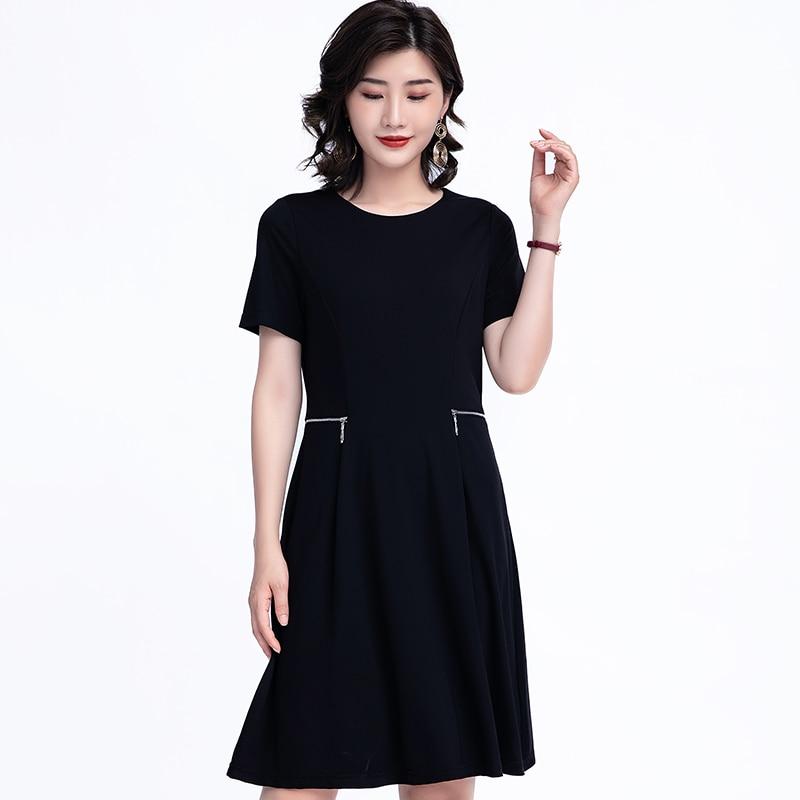 Zíper elastano vestidos para as mulheres verão preto tamanho grande 6xl 5xl o pescoço curto uma linha elegante escritório senhoras mulher vestido mais tamanho